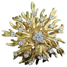 18K Yellow Gold Diamond Sunburst Brooch