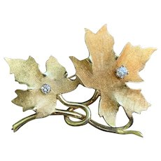 Yellow Gold and Diamond Maple Leaf Brooch