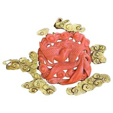 !4K Yellow Gold Red Carved Coral Brooch
