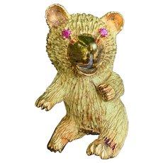 18K Yellow Gold Teddy Bear Brooch