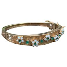 14K Yellow Gold Pearl and Emerald Bangle