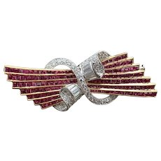 18K Yellow Gold Ruby and Diamond Brooch