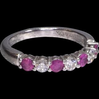 Tiffany & Co Platinum Diamond And Ruby Eternity Wedding Band
