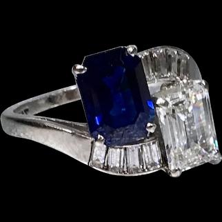 Platinum Sapphire and Diamond ByPass Ring