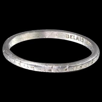 Art Deco Wedding Band Vintage Wedding Band  18K White Gold Wedding Ring - R 534M