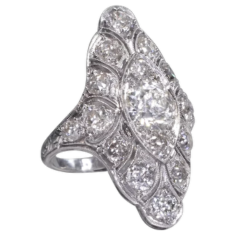 Diamond Cocktail Ring Art Deco Ring Vintage Filigree Ring Platinum Statement Ring - R 552S
