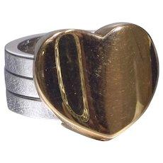 Marina B 18k Yellow Gold and White Gold Heart Ring
