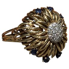 18K Yellow Gold Diamond and Sapphire Cluster Ring
