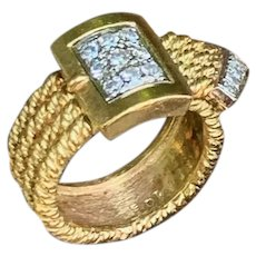 18K Yellow Gold and Diamond Buckle Ring