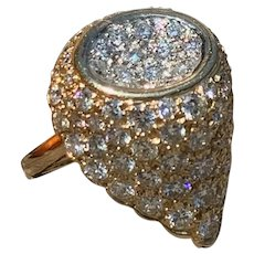 14K Yellow Gold Diamond Statement Ring