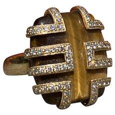 18K Yellow Gold Diamond and Tigers Eye Statement Ring