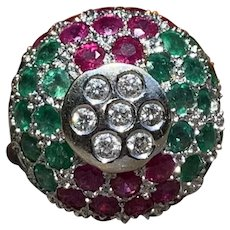 18K White Gold Ruby, Emerald and Diamond Cluster Ring