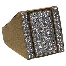 18K Yellow Gold Men's Diamond and Lapis Ring