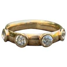 14K Yellow Gold and Diamond Mens Wedding Band