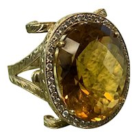 18K Yellow Gold Citrine and Diamond Statement Ring