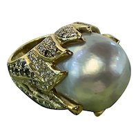 18K Yellow Gold South Sea Pearl, Cognac and White Diamond Ring