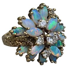 14k Yellow Gold Marquise Opal and Diamond Ring