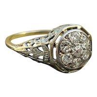 Art Deco Diamond 1920s Filigree Engagement Ring
