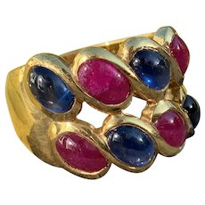 14K Yellow Gold Ruby and Sapphire Wide Cigar Band