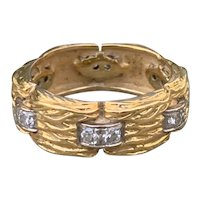 18K Yellow Gold Wide Band with Diamonds