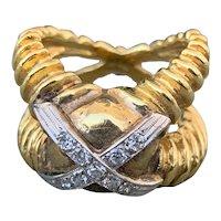 """18K Yellow Gold """"X"""" Diamond Band"""