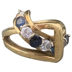 18K Yellow Gold Diamond and Sapphire Band Ring