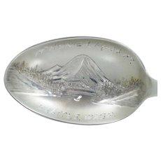Mt. Rainier Seattle Washington Sterling Silver Souvenir Spoon Vintage Antique