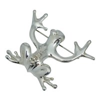 Mexico Sterling Silver Tree Frog Pin Brooch Vintage Roca Toad Mexican