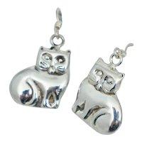 Sterling Kitty Cat Dangle Drop Earrings Silver Vintage 925