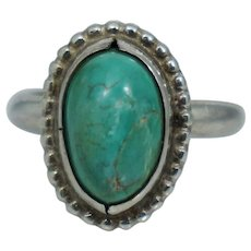 Vintage Native American Sterling Silver Blue Turquoise Beaded Ring Sz 4.25