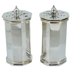 Tiffany & Co Sterling Silver Salt Pepper Shakers Vintage Deco Style 1985 English