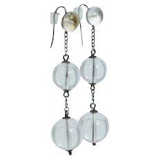Antique Pools of Light Sterling Rock Crystal Quartz Drop Dangle Earrings Vintage