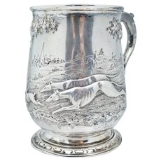 1768 London England Sterling Silver Hunting Tankard Mug Cup Antique The Hunt Dog Rabbit Scene Repousse English Stein