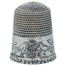 Simons Sterling Floral Bird Thimble Vintage Silver 13 Brothers Repousee