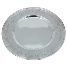 Art Nouveau Sterling Silver Nursery Rhyme Dish Charger Plate Antique Vintage Child Bunny Rabbit Chicken Pig Cat Wolf