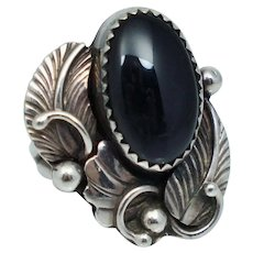 Vintage Native American Sterling Silver Black Onyx Vintage Ring Sz 5