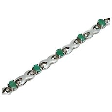 Vintage Sterling Silver Green Emerald Bracelet Oval Cut 7 1/4""