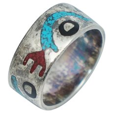 Vintage Native American Sterling Turquoise Coral Band Ring Sz 6 Wide