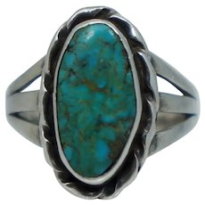 Vintage Native American Blue Turquoise Sterling Silver Ring Sz 5.75