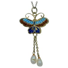 Chinese Export Sterling Blue Red Enamel Butterfly Pearl Pendant Necklace Vintage Drop Dangle Silver
