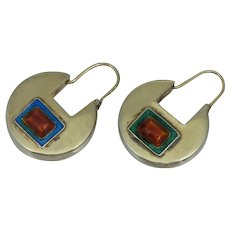 Chinese Export Sterling Gold Vermeil Gilt Red Blue Green Enamel Earrings Silver Antique Vintage Drop