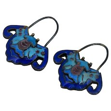 Chinese Export Sterling Blue Cloisonne Enamel Bat Earrings Silver Antique Vintage Old