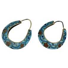Chinese Export Floral Blue Red Cloisonne Enamel Sterling Hoop Earrings Silver Antique Vintage Gold Vermeil Gilt