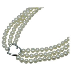 "14K White Gold 3 Strand Cultured Pearl Heart Necklace Vintage 17"" 585"