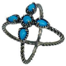 Carolyn Pollack Sterling Silver Blue Turquoise Open Cross Ring Vintage Sz 8