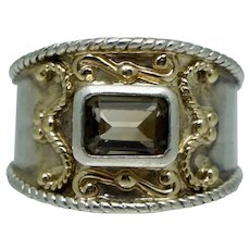 Sterling 10K Gold Brown Topaz Silver Ring Band Vintage Sz 6.25