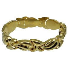 Vintage Sterling Gold Vermeil Gilt Silver Bracelet Wide Articulated