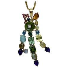 36 Carat 14K Yellow Gold Diamond Cats Eye Chrysoberyl Emerald Amethyst Ruby Citrine Pendant for Necklace Vintage
