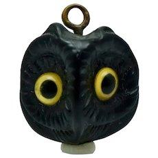 Art Nouveau Owl Face Watch Fob Pendant for Necklace Antique Yellow Eyes Vintage Celluloid