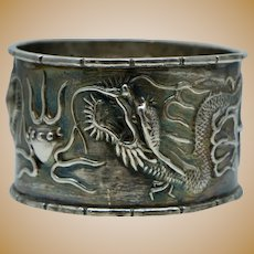Chinese Export Dragon Sterling Silver Jelly Fish Antique Napkin Ring Vintage Bamboo